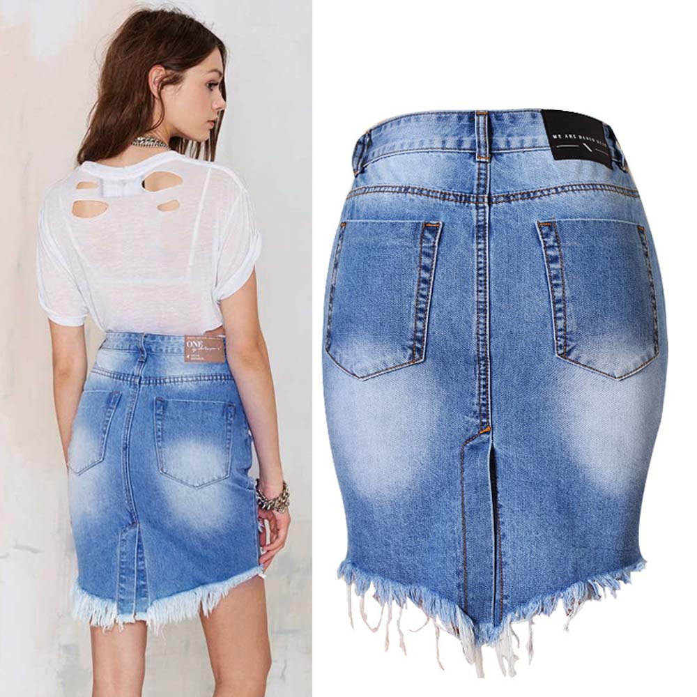 Denim High Waisted Bodycon Skirt Ripped Pencil Split Back Raw Mini ...