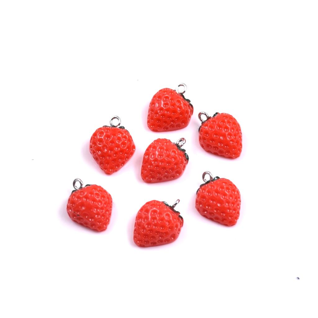 10PC Red Enamel Strawberry Fruit Charm Pendant For DIY Earrings//Bracelet Craft