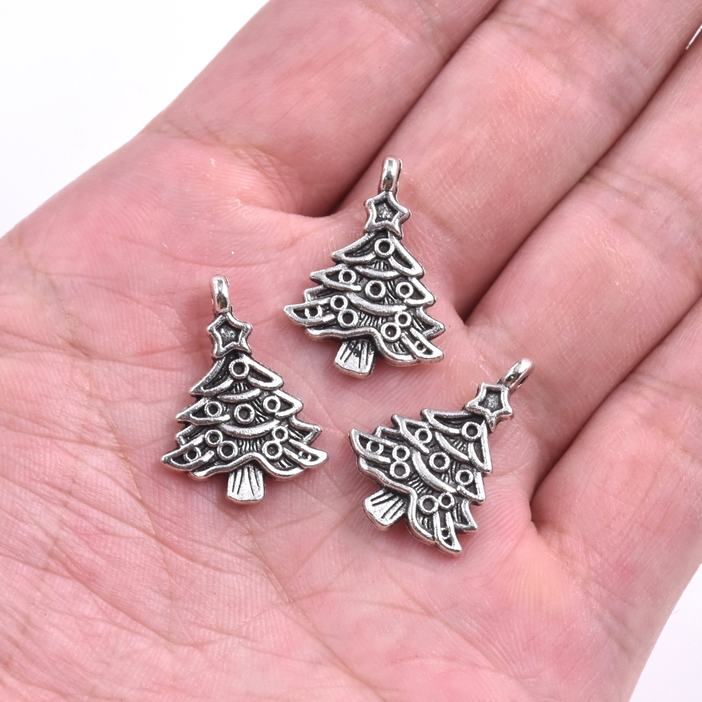 10x Jewelry Charms Christmas Decoration Charms Bracelet Making Tibet Silver