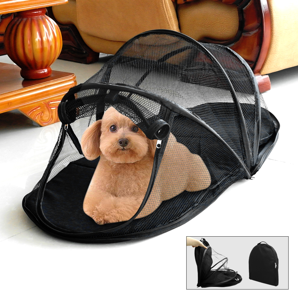 Black Portable Puppy Small Pet Tent Dog Cat Folding C&ing Mesh House Enclosure  sc 1 st  eBay & Black Portable Puppy Small Pet Tent Dog Cat Folding Camping Mesh ...