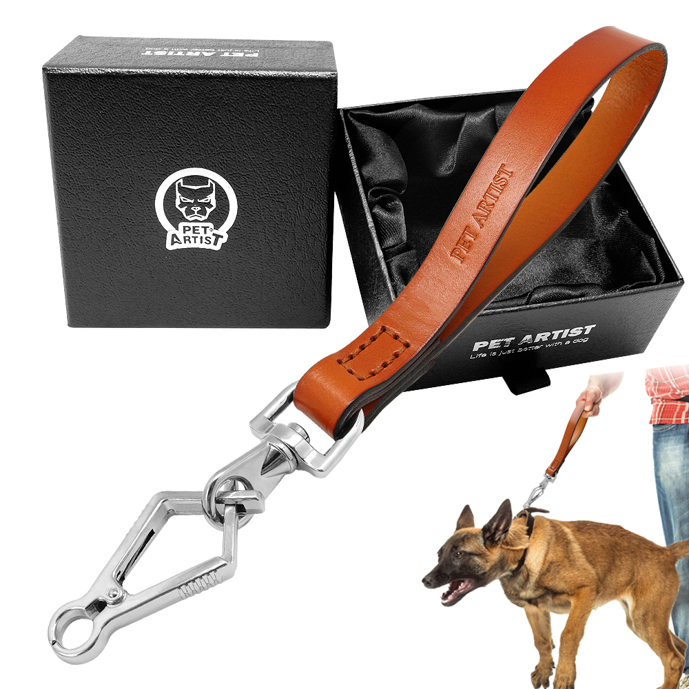 55fcedf43c3b Details about Short Leather Dog Leash for Large Dogs Training Heavy Duty  Traffic Leads Handle