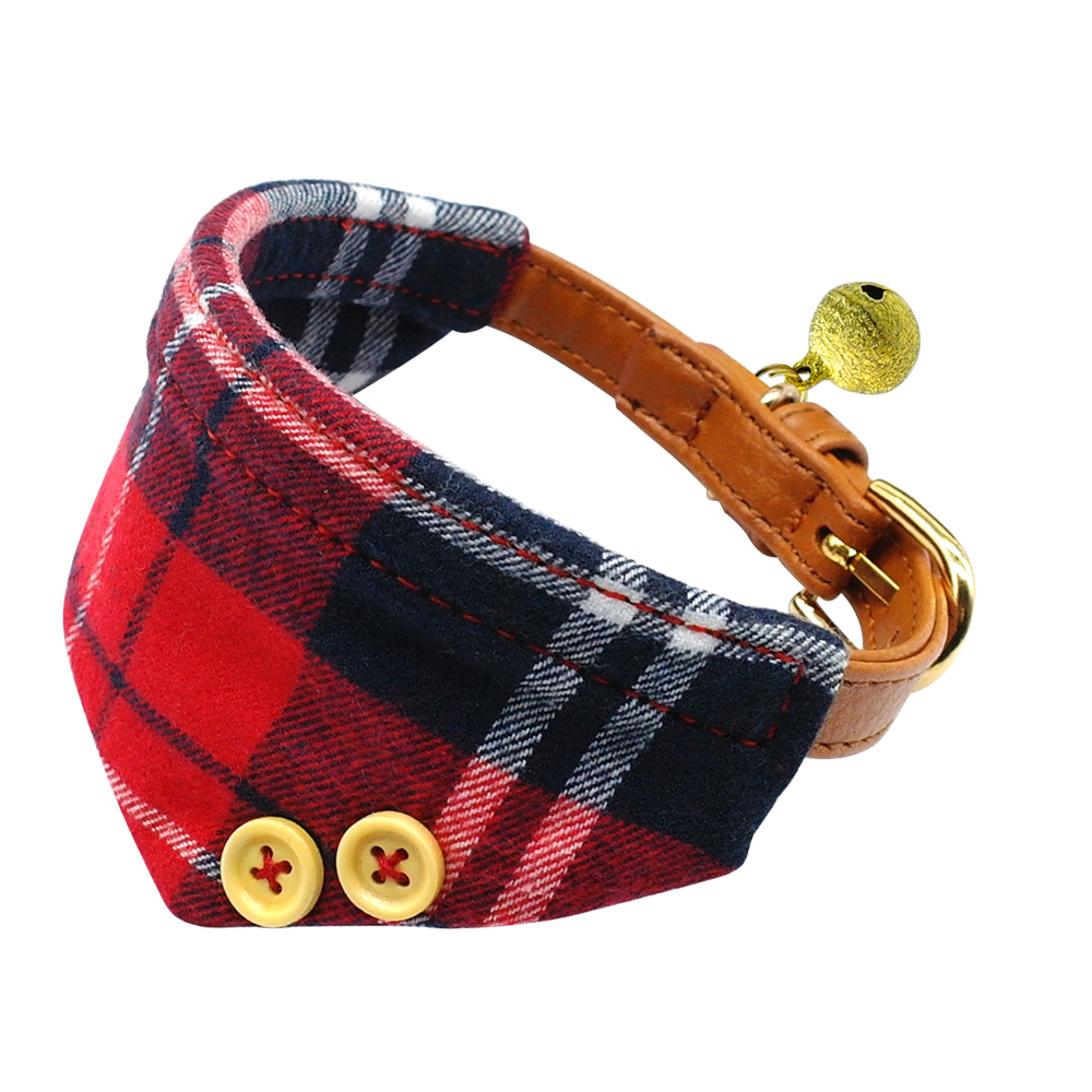 Soft Grid Dog Bandana Collar Cover with Bell Puppy Pet Neck Scarf Neckerchief