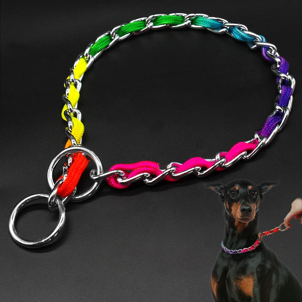 Metal Chain Dog Training Collars P Choker Collar Safety For Large Dogs Walking