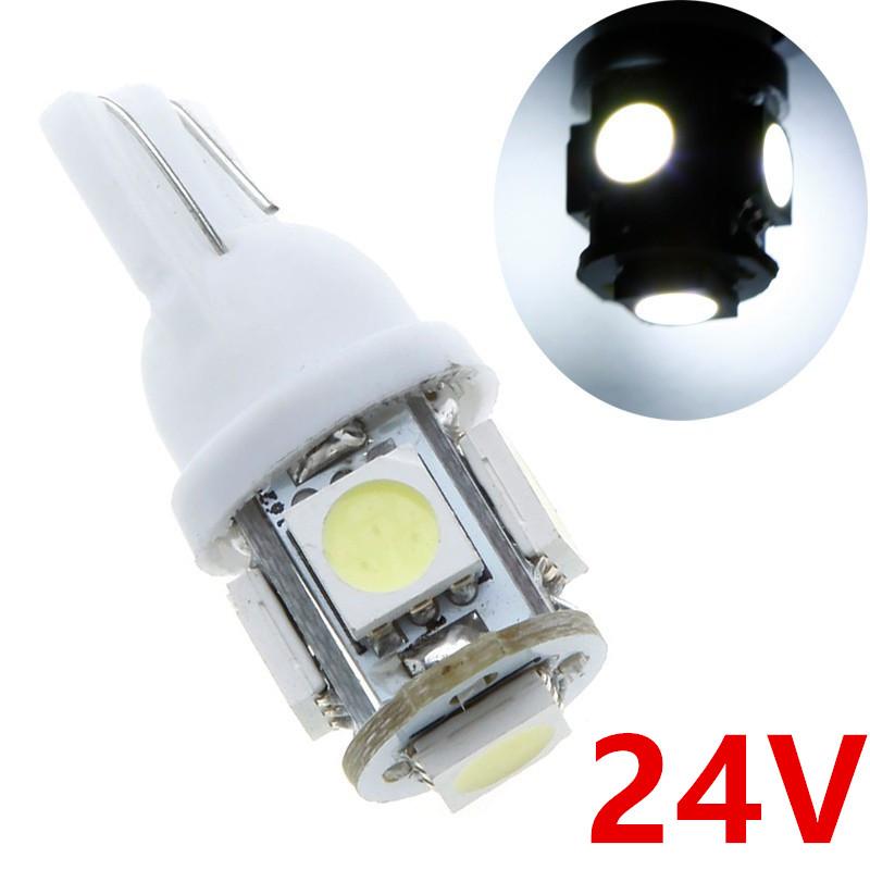 10X 24V White T10 5SMD 5050 LED Car Interior Truck SUV Side License Plate Light