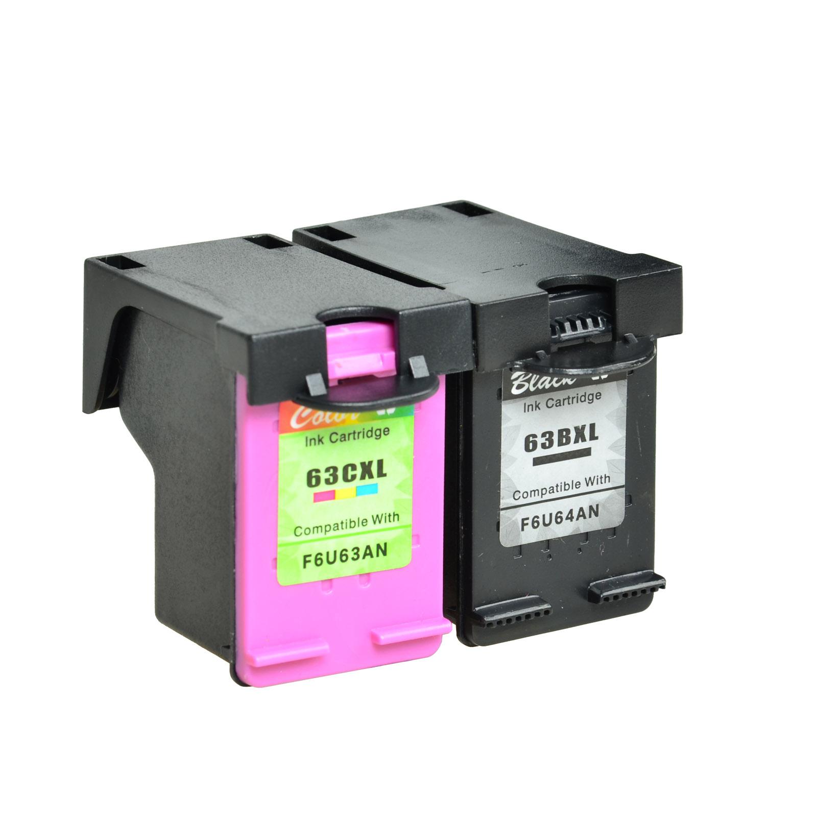 2 Combo Ink Cartridges Refurbised for HP 63XL HP Deskjet 1112 2130 3630 3632