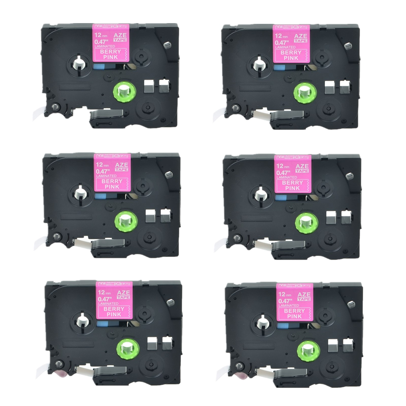 3PK White on Berry Pink Label Tape TZ TZe MQP35 For Brother P-Touch PT1090 12mm