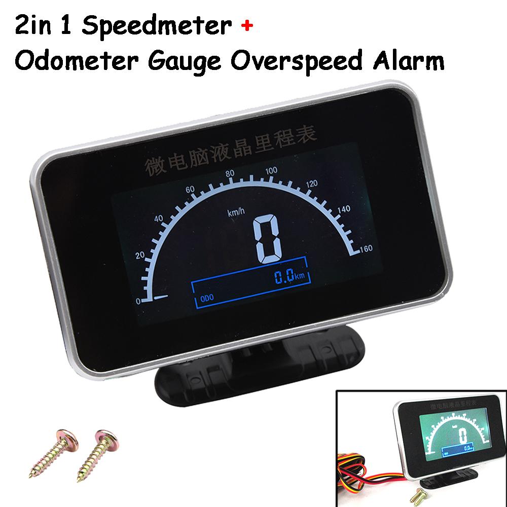 2 IN 1 Car Interior Speedometer Odometer Gauge Meter Overspeed Alarm Universal
