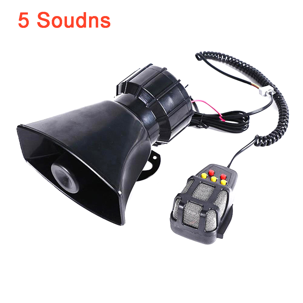 Car & Truck Parts Car Truck Electric Air Horn Siren Speaker Super Loud 300DB With Mic 5 Sound Tone