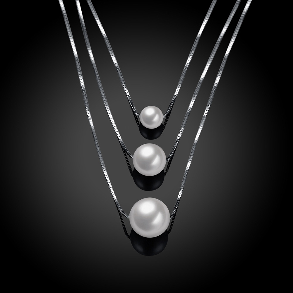 Women 925 Sterling Silver Pearl Pendant Box Chain Necklace For Women Girl