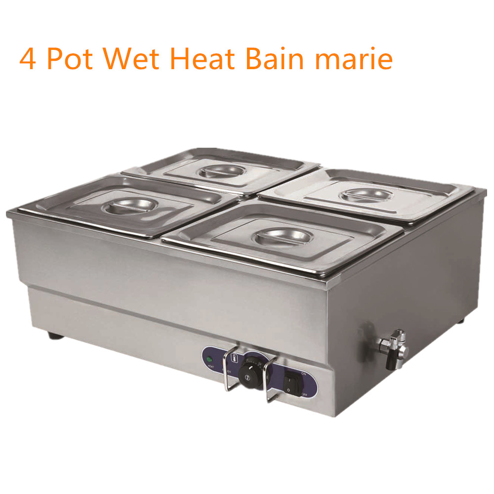 4 pots bain marie catering wet well wet heat electric food. Black Bedroom Furniture Sets. Home Design Ideas