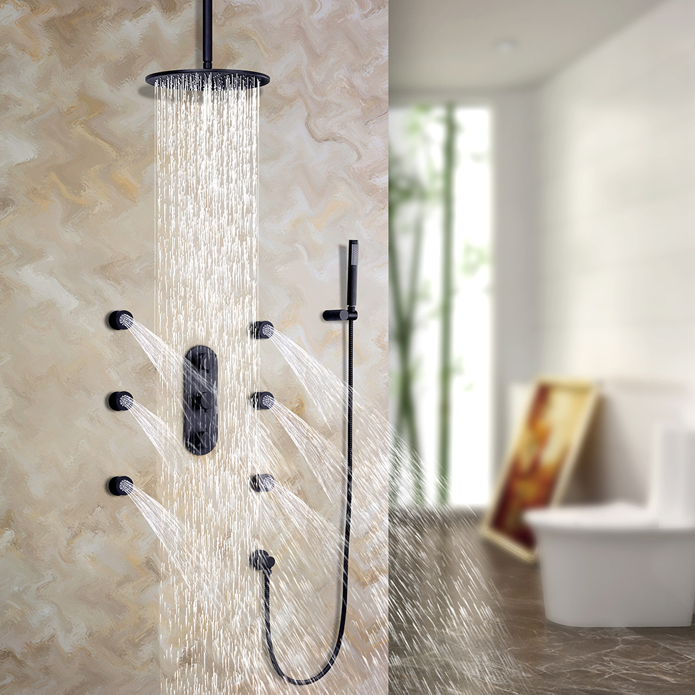 Details About Modern Elegant Ceiling Rain Shower System With 6 Body Spray  Jets U0026 Hand Shower