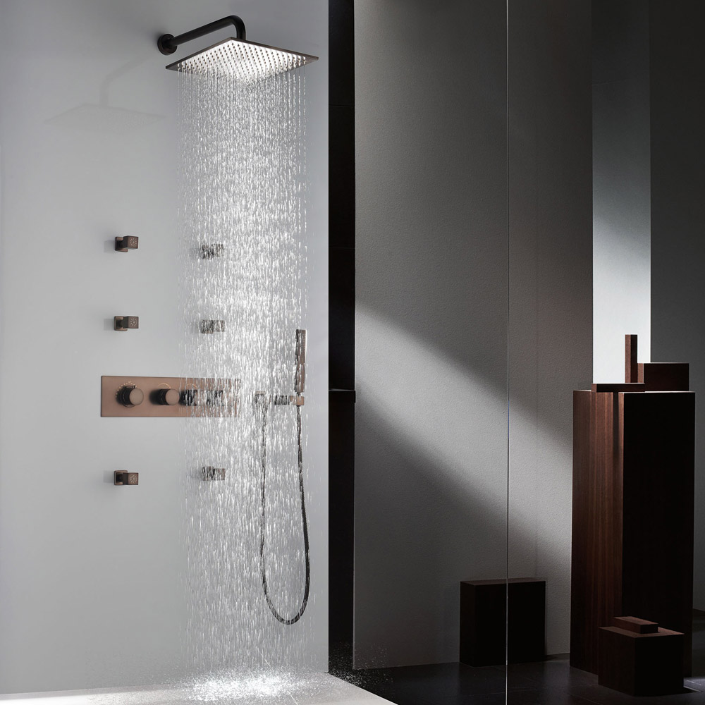 Modern Wall Mounted Thermostatic Rainfall Shower Set with Six Body ...