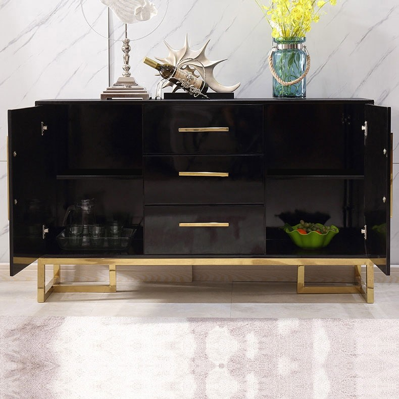 "homary 59"" black buffet table 2 door&3 drawers kitchen"