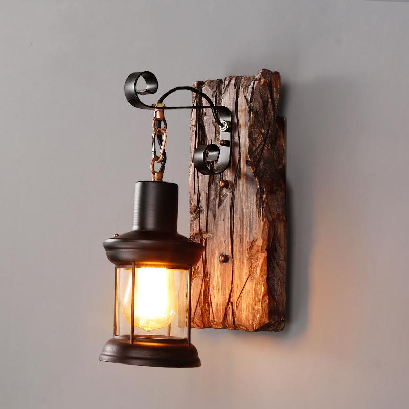 Black Metal Clear Gl Lantern Indoor Wall Light Sconce Decor