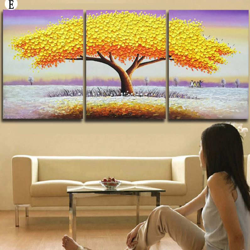 Brilliant Blossom Colorful Oil Painting Living Room Canvas Wall Art ...