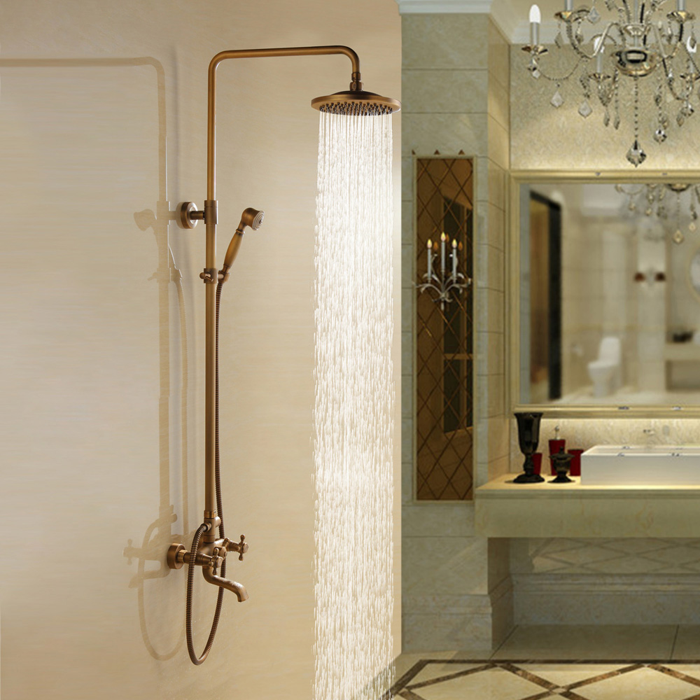 Exposed Shower&Tub Spout Classic Shower System Set Antique Brass ...