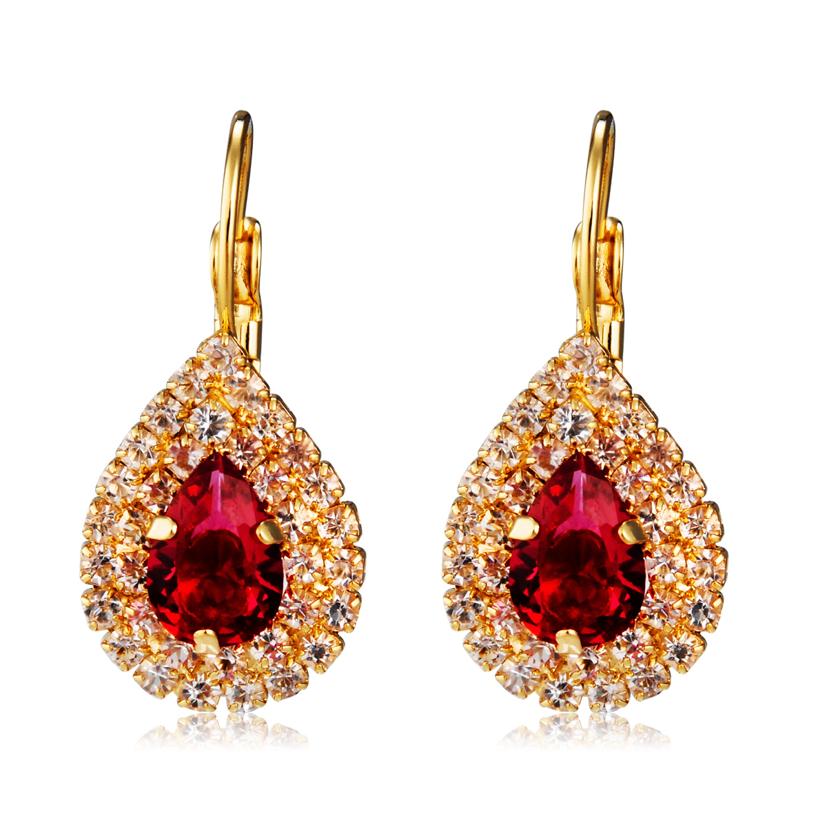 Details about Ruby 18K Rose Gold Plated Made with Swarovski Crystal Wedding  Piercing Earrings