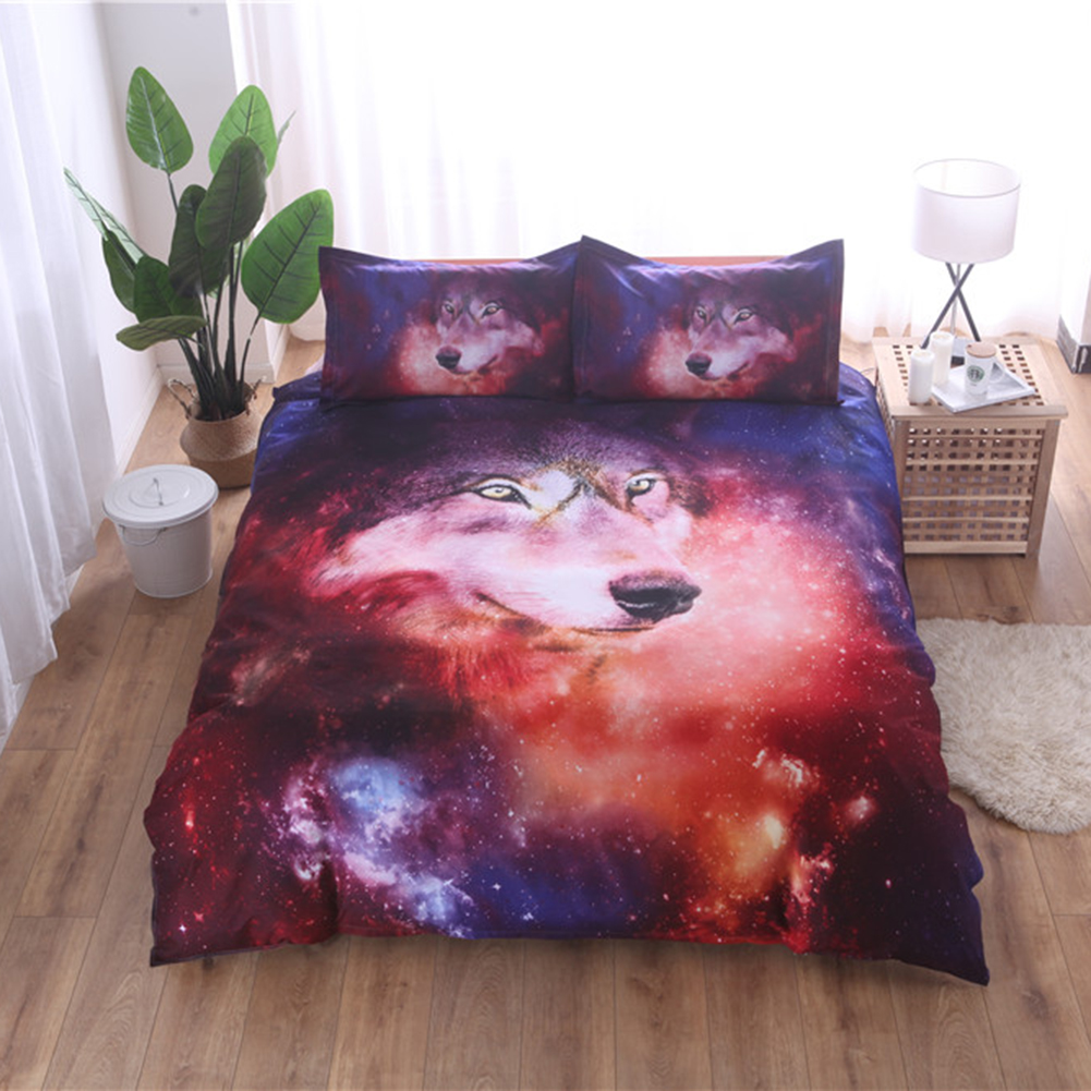 ... Set Source · 3D Space Galaxy Wolf Duvet Quilt Cover Bedding Pillowcases Twin Full Queen King