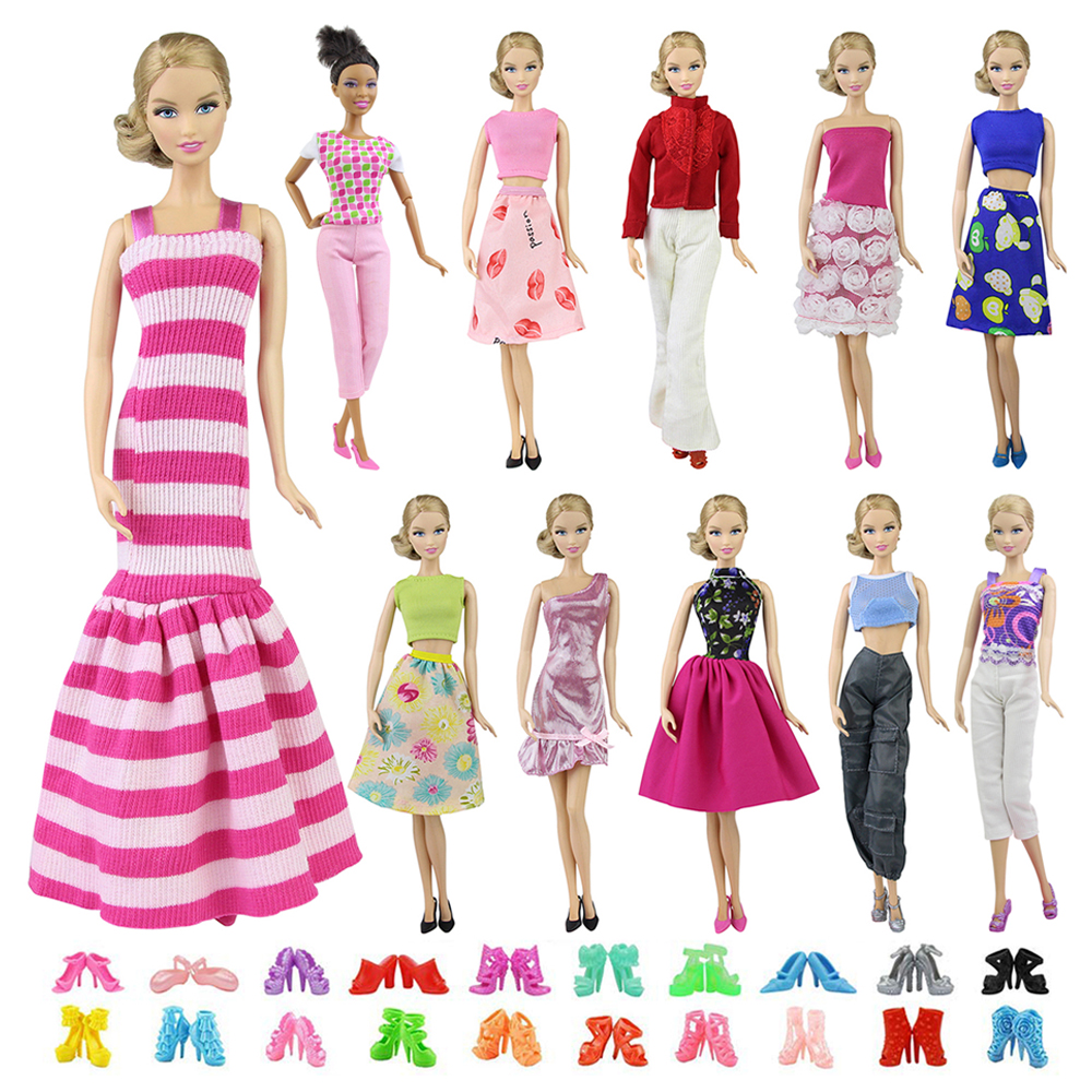 15-piece Handmade 11.5 Doll Dresses Clothes 5 Handmade Dresses 10 pairs shoes Dolls