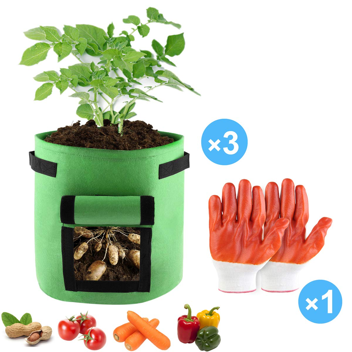 Details About 3pcs Garden Potato Grow Bags 7 Gallon Vegetables Planter Growing Pot 1 Gloves