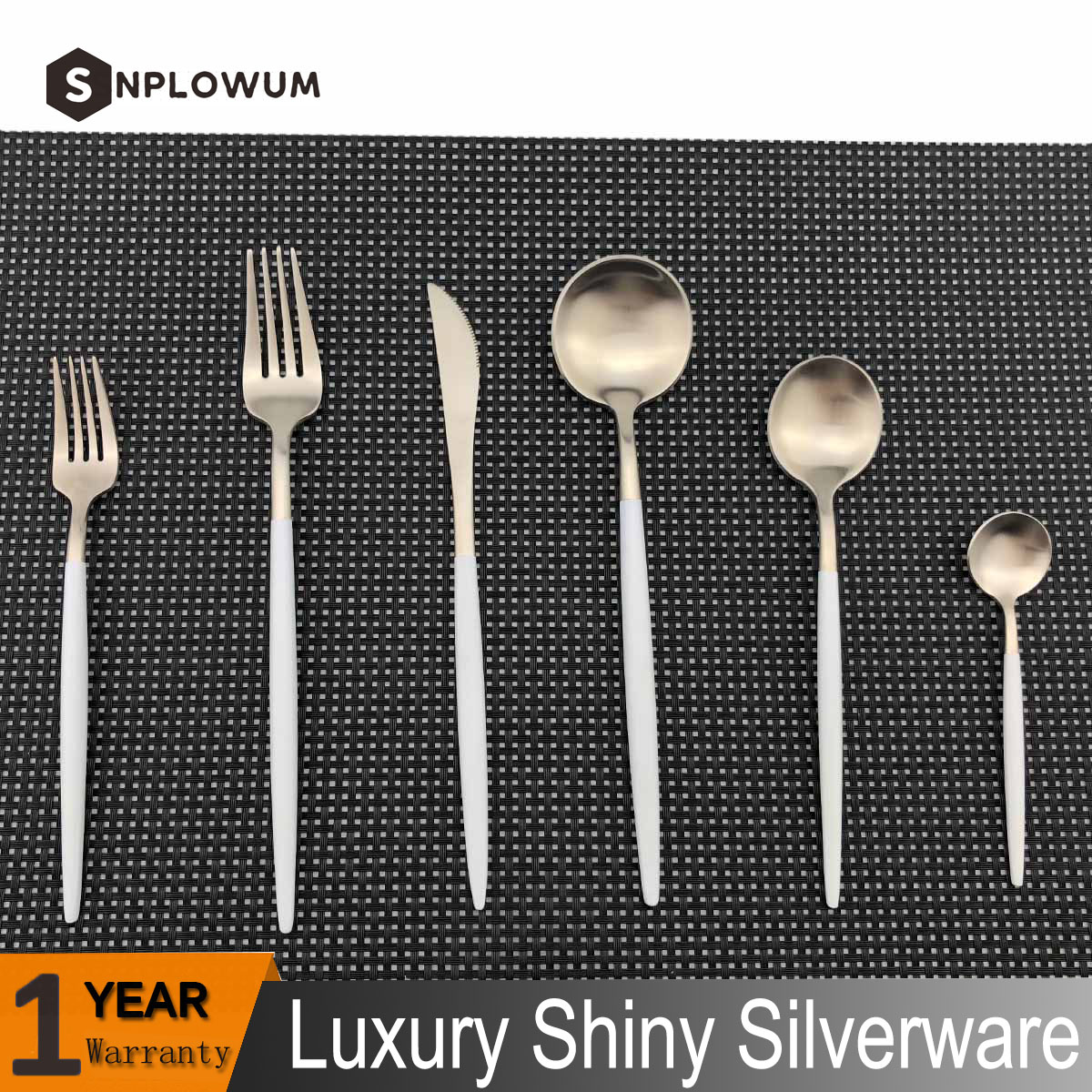 Details About 6 Piece White Handle 18 10 Stainless Steel Silverware Flatware Set Service For 1