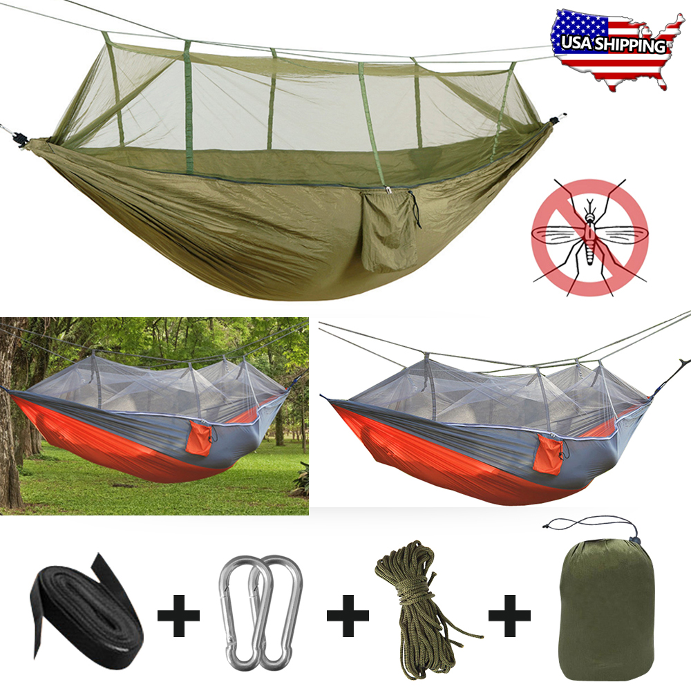 Well-Educated Portable High Strength Parachute Fabric Camping Hammock Hanging Bed With Mosquito Net Sleeping Hammock Camp Sleeping Gear