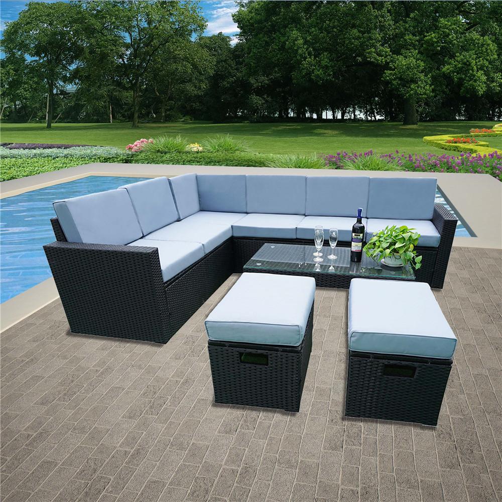 Details about Large Rattan Corner Garden Sofa Dining Table Set Furniture  Black Brown Grey