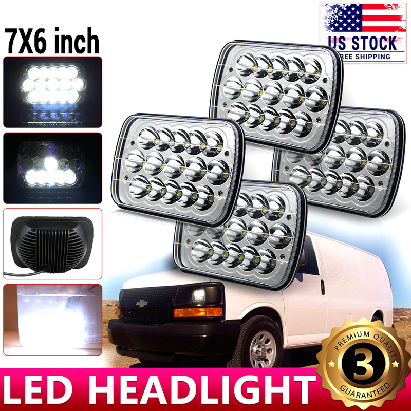 7x6 LED Headlight Headlamp For Chevy Express Cargo Van 1500 2500 3500 GMC Savana