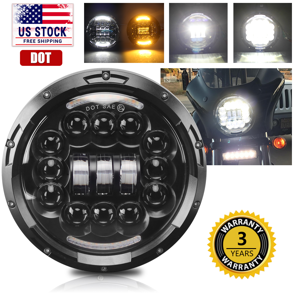 7 Inch LED Projector Round Headlight Black For Harley Street Glide Softail FLHX