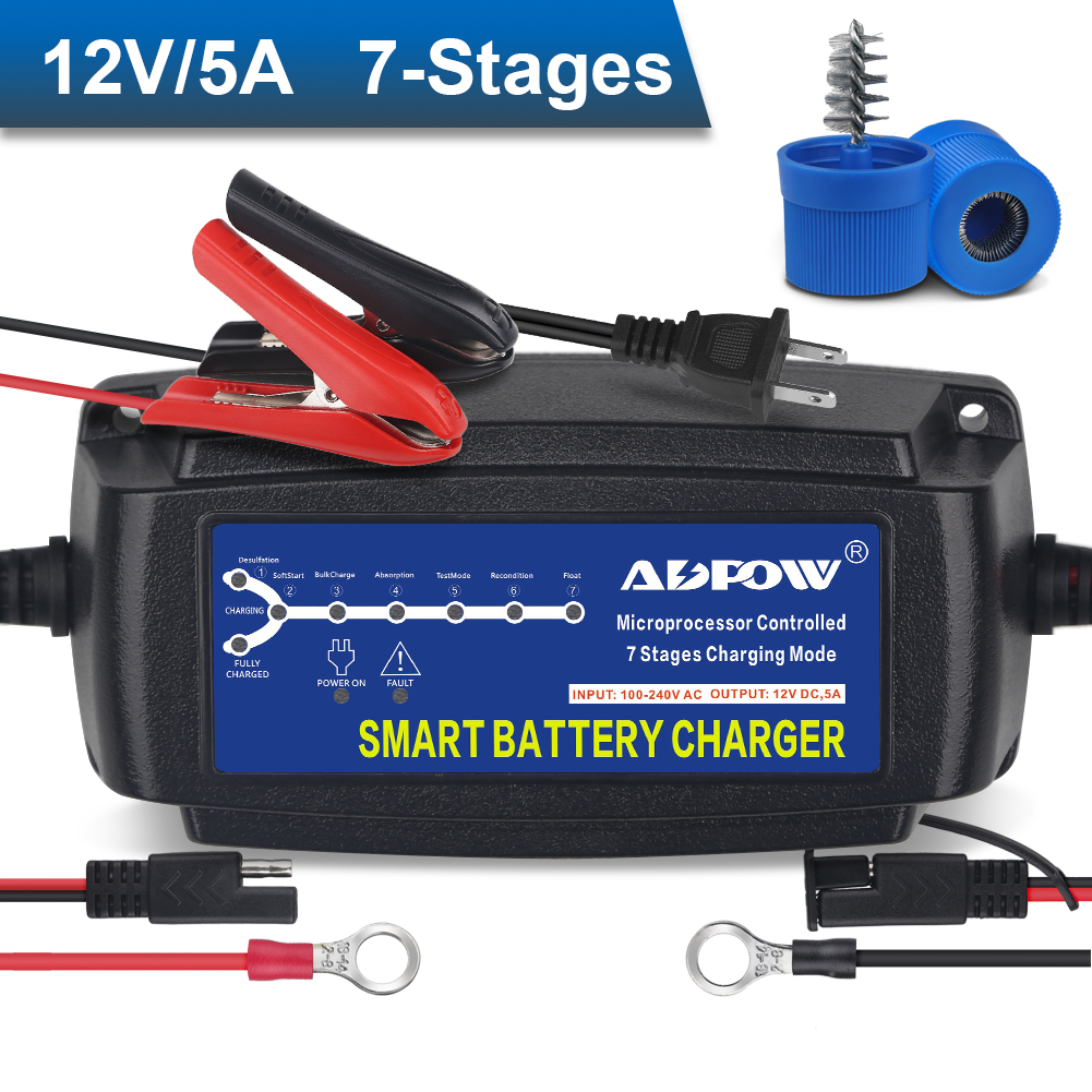 Lawn Mower Trucks Boats Motorcycles Ampeak Battery Charger Automotive: 5A 12V Auto Trickle Charger Maintainer for Cars
