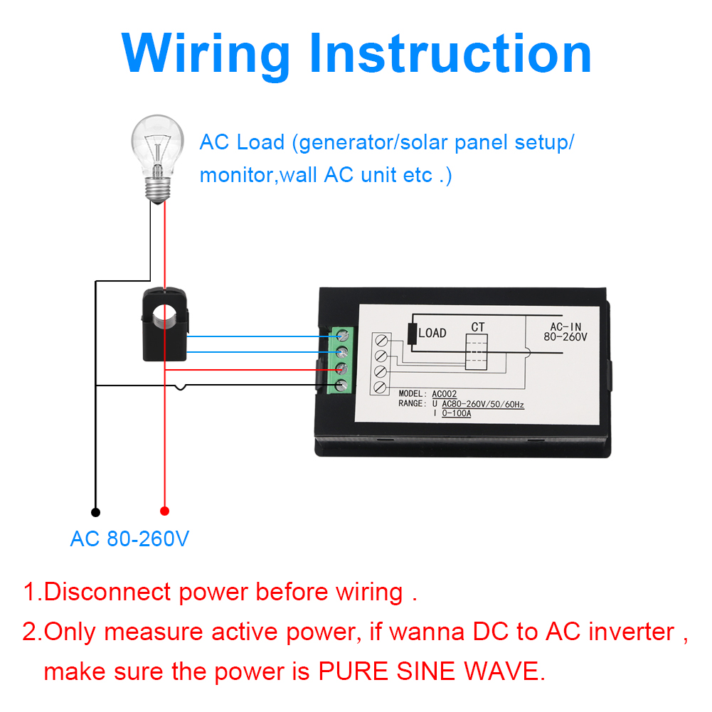 Ac Voltmeter Power Kwh Current Meter Open Close Transformer Generator Wiring Circuits 100a 80 260v