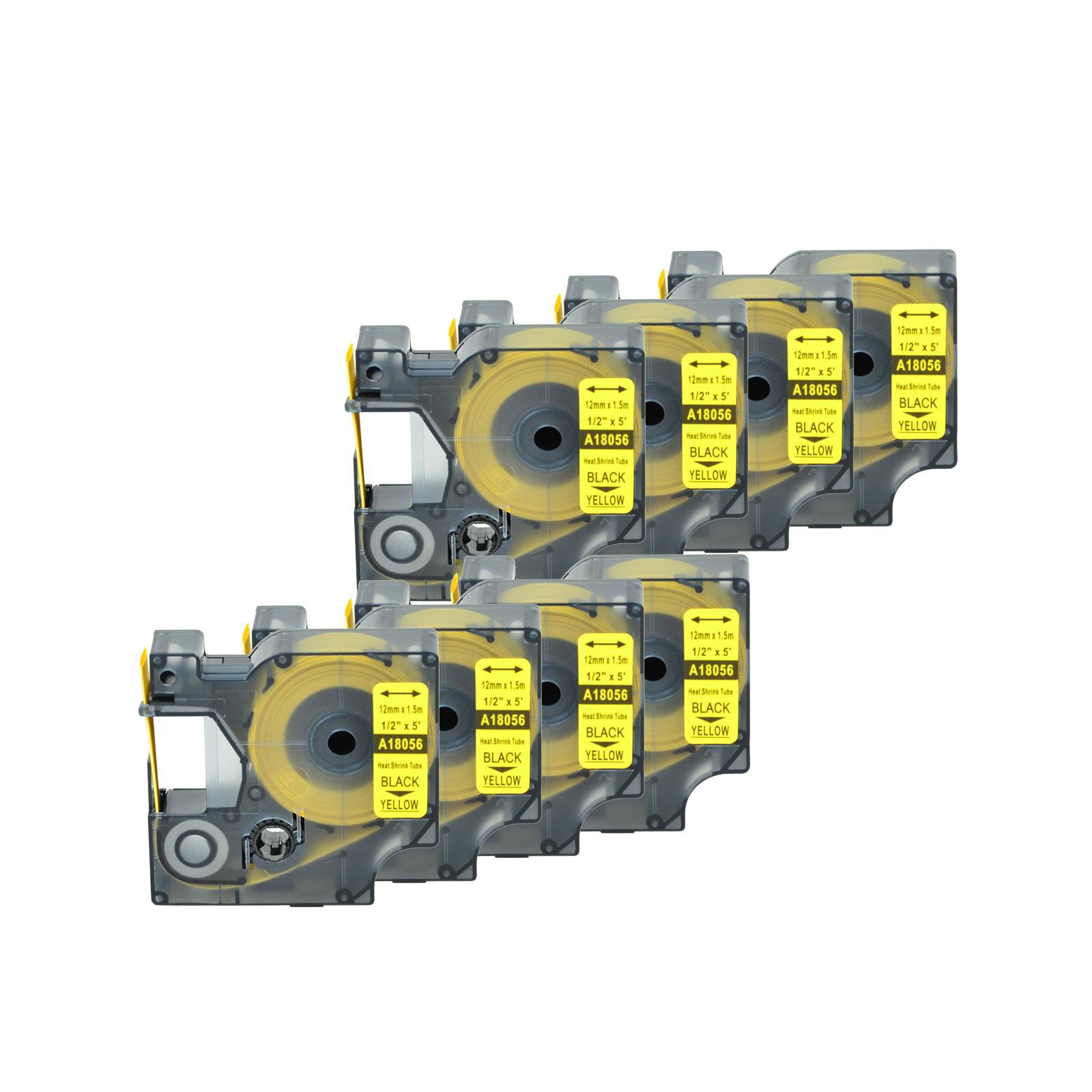 "10* For DYMO Rhino 4200//5200 Heat-Shrink Tube 18056 Industry Label Tape 1//2/""x5/'"