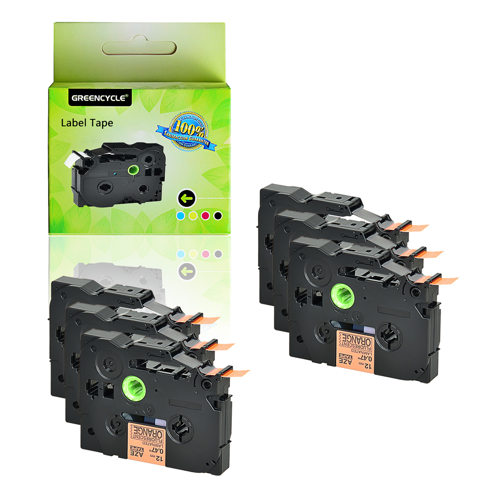 6PK Label TZe-B31 TZ-B31 Black on Fluorescent Orange 12MM For Brother GL-100