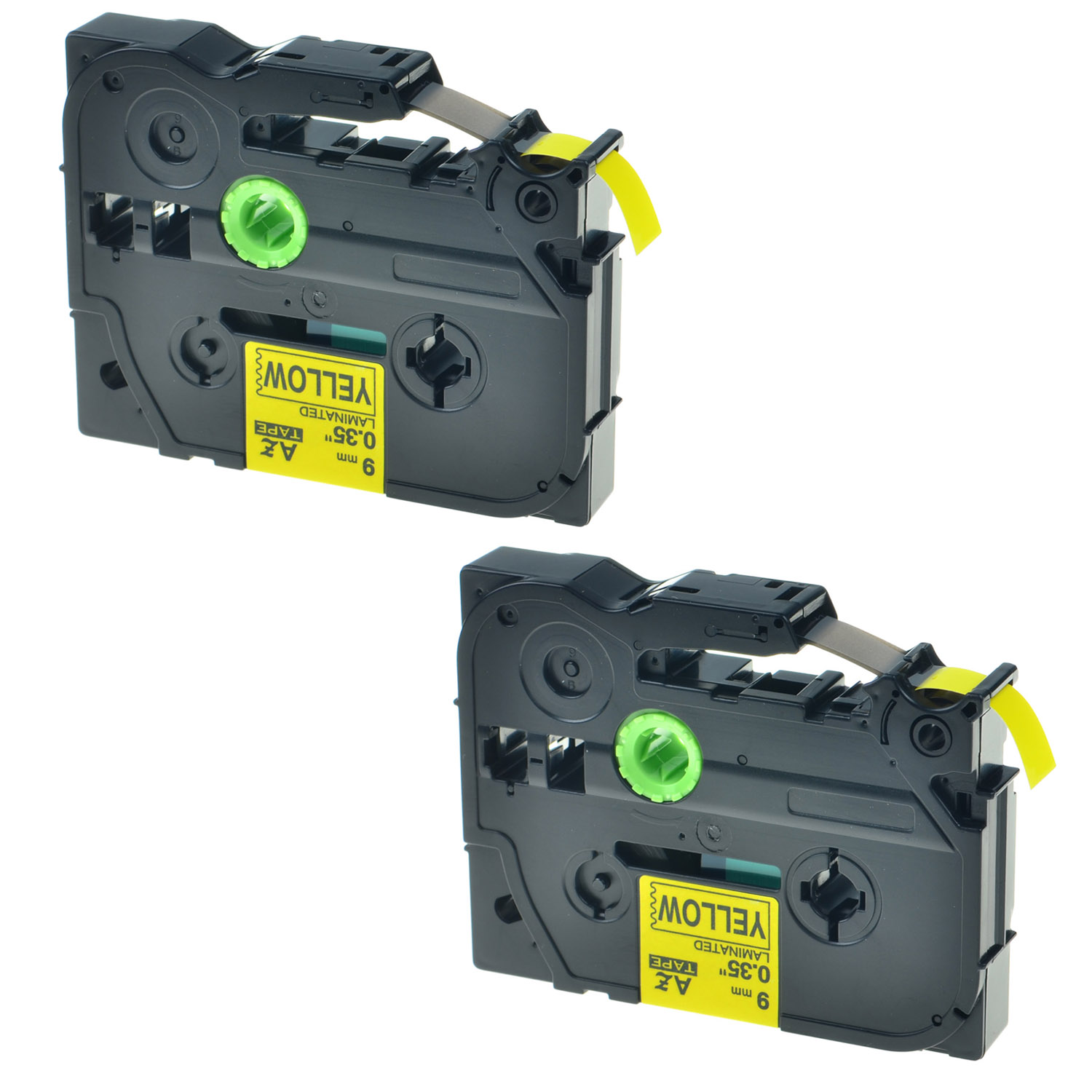 2PK Black on Yellow Label Tape For Brother TZe-621 TZ-621 PT-D210 P-touch 9mm 8m