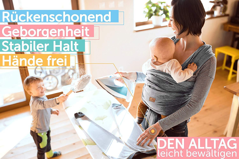 Tragetuch Babytragetuch Bauchtrage Babytrage Baby bis 20kg Baumwolle Tragegurt