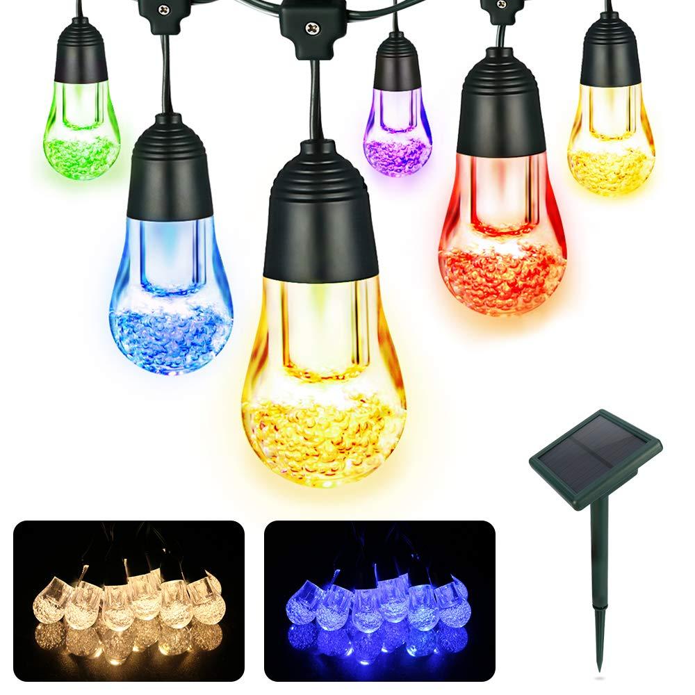 12 led solar lichterkette gl hbirnen garten beleuchtung. Black Bedroom Furniture Sets. Home Design Ideas