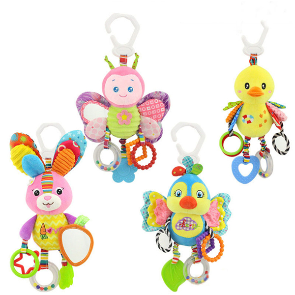 Toys For Infants >> Details About Baby Cartoon Animal Rattles Bed Bell Hanging Baby Crib Toy Infants Plush Toys