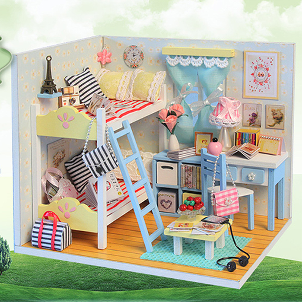 mini doll furniture. Mini Assembling Doll House Realistic 3D DIY Wood Handmade Miniature Dollhouse Furniture Kit For Room Decorations Gift D