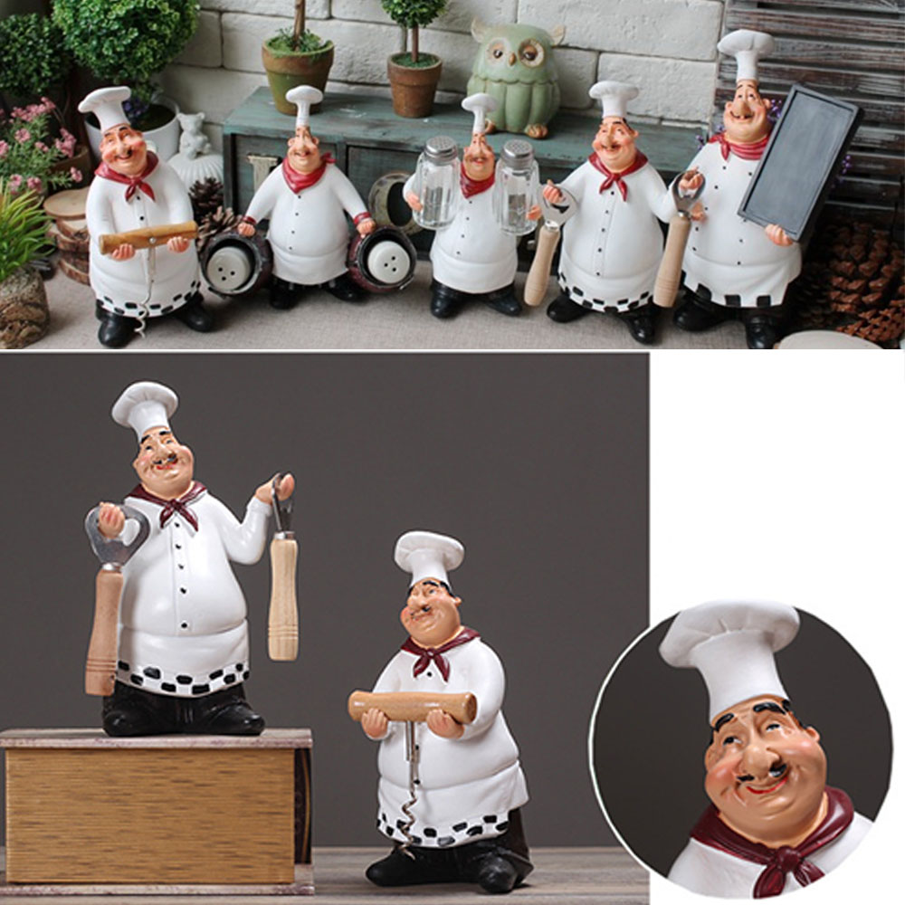 Cute Resin Chef Crafts Creative Figurine European Style Kitchen Home Decor Wedding Friends Gift Photography Props 5 Pattern
