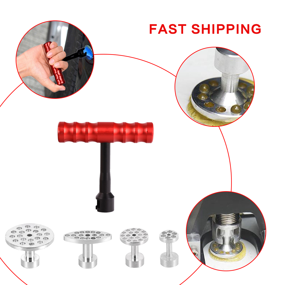 4pcs Car Dent Removal Paintless Dent Repair Kit Aluminum Pdr Glue Puller Tabs Glue Pulling Tabs Auto Body Dent Removal Hand Tool Easy And Simple To Handle Tool Sets