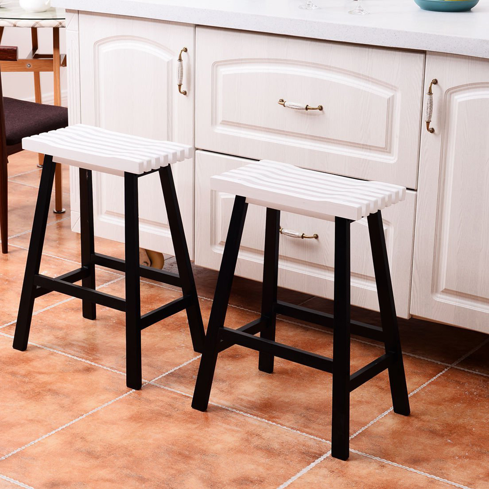 24inch Bar Stools Kitchen Dining Room Saddle Seat Wooden Pub Chair
