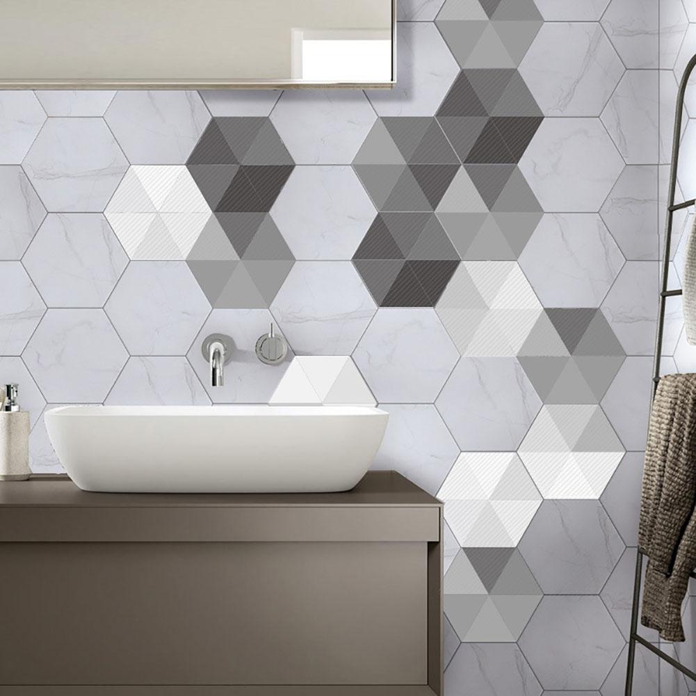 10pcs DIY Tile Hexagon Floor Wall Stickers Wall Mosaic Decal Home ...