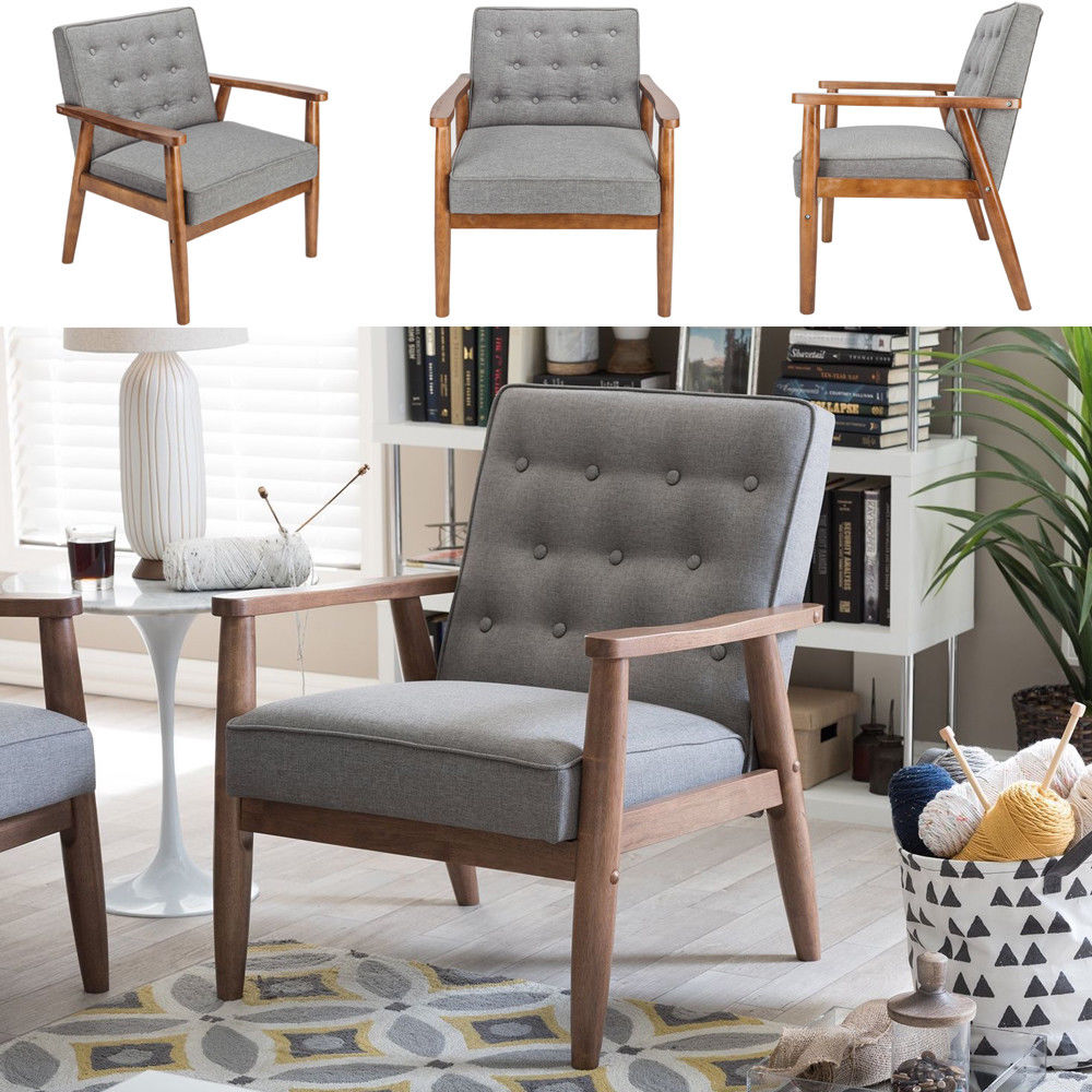 Details about US Modern Fabric Arm Chair Single Sofa Seat Leisure Living  Room Furniture Grey