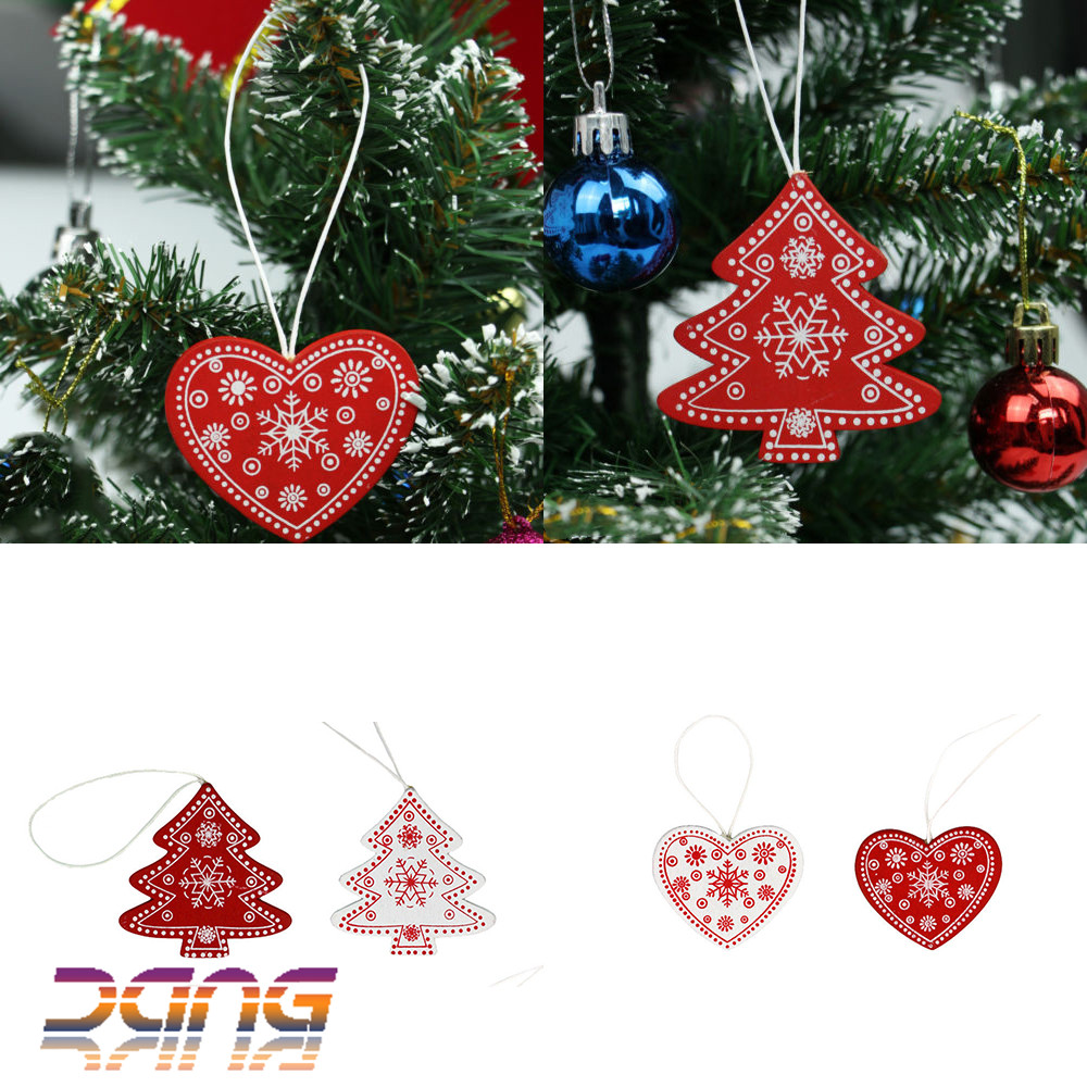 24x christmas tree decorations wooden shabby chic nordic vintage xmas ornaments