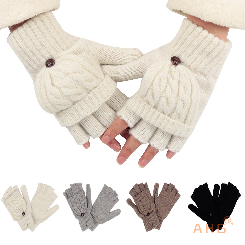 Women Men Knitted Wrist Fingerless Gloves Wool+Cotton Winter Warm ...