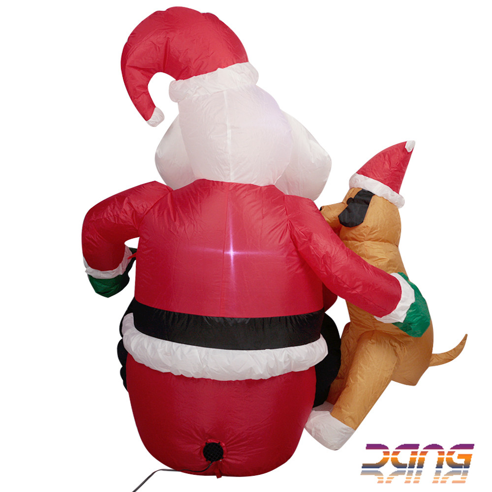 Novelty Santa Claus Inflatable Christmas Decoration With Dog