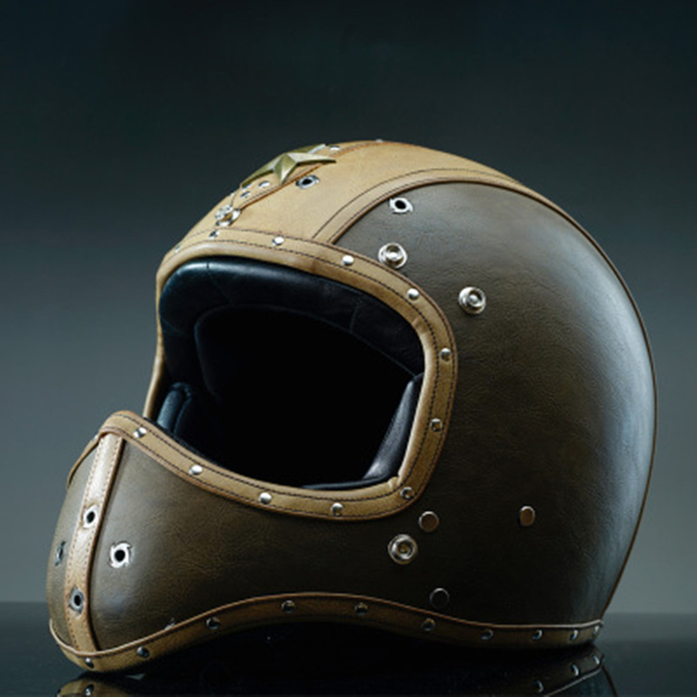Vintage Motorcycle Helmet Full Face Deluxe Leather ...