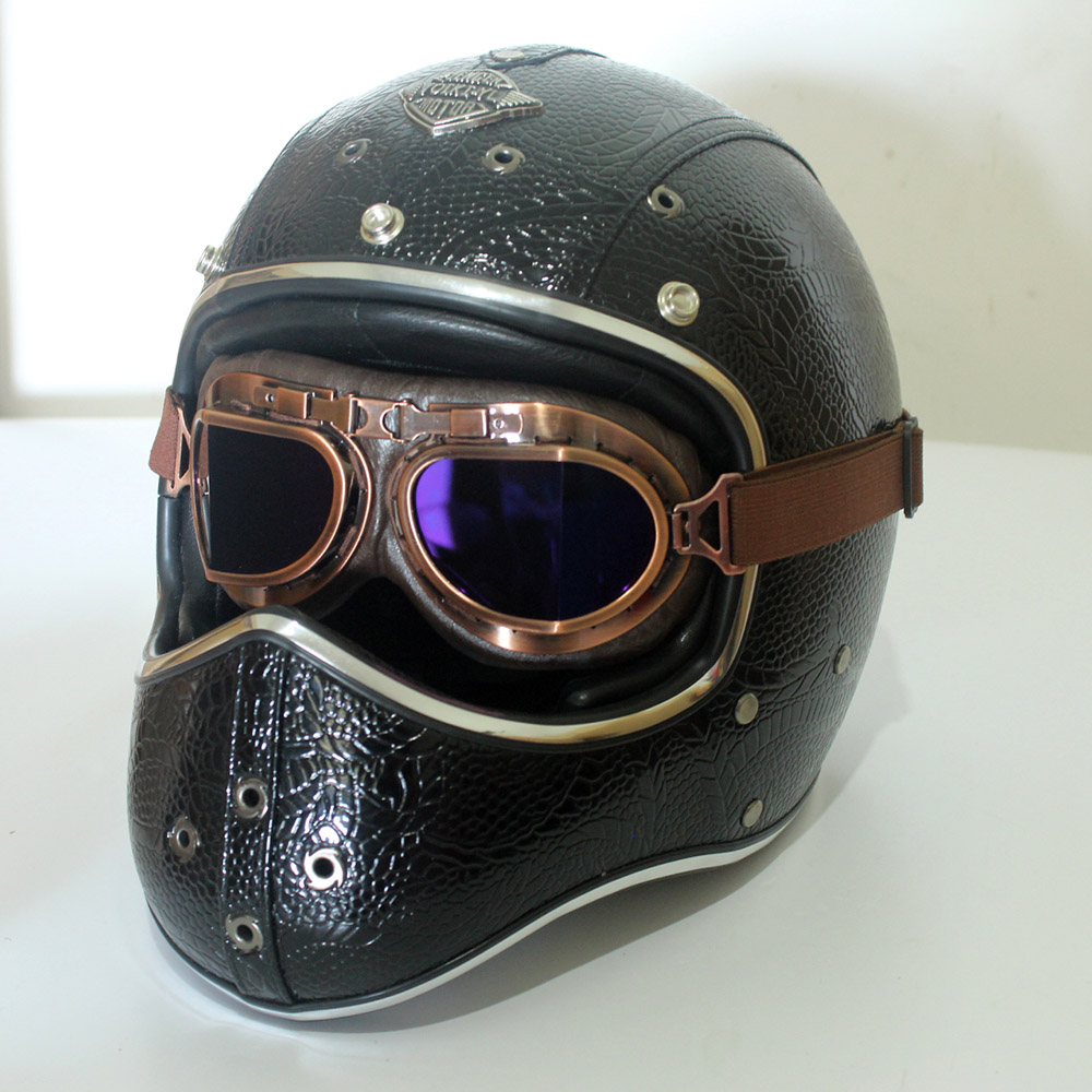 Full Face Cruiser Helmets >> Details About Vintage Full Face Motorcycle Helmet W Goggles Handmade Leather Cruiser Scooter