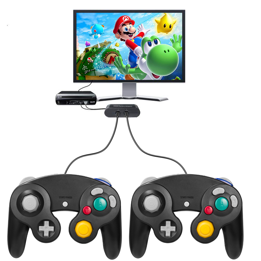 Details about For Nintendo GameCube & Wii NGC Wired Remote Controller Black  Smash Bros ver