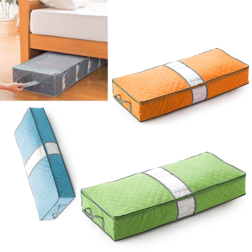 Details About 4 Colors Under Bed Organizer The Storage Bag Box Gray Clothes Blankets